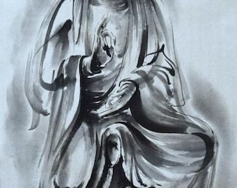 Guanjin, Czenrezig, Avalokiteśvara, Buddha Painting, Kannon Art, Buddhist Artwork, Chinese Brush Painting, Sumi-e, Japanese Painting, Zen
