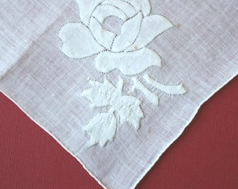 Elegant Vintage Rose Applique Handkerchief