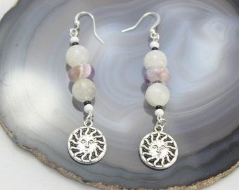 Peaceful Sun Earrings/ Moonstone and Amethyst