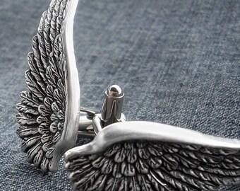 Wings Cufflinks Men Steampunk Jewelry Mens Gothic Jewelry Silver Gothic Cufflinks Wedding Cufflinks Gothic Wedding Accessories