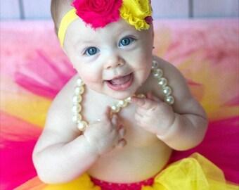 Pink Lemonade Tutu and Headband, Pink and Yellow Tutu, Baby Tutu, Shabby Chic Headband, Infant Tutu, Toddler Tutu, Newborn Tutu, Summer Tutu