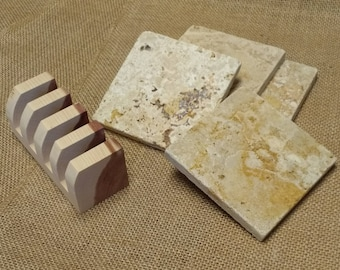 Tumbled Stone Coasters (4) with Eastern Red Cedar Holder