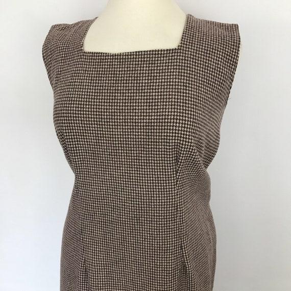 1960s shift dress, houndstooth dress, brown, checkered, plus size, volup, UK 18, 50s dress, brown shift dress, handmade, woollen dress, 60s