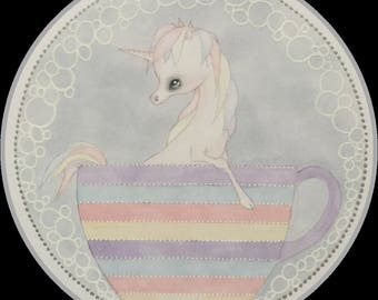 Original art unicorn rainbow teacup fantasy lowbrow art