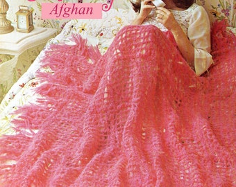 Afghan Crochet Pattern, Crochet Afghan Pattern, Mohair Crochet Pattern, Bridal Shower Gift Idea, PDF INSTANT Download Pattern (1013)