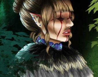 Elven Druid | Digital Art print | Digital Art | Original Drawing | A4