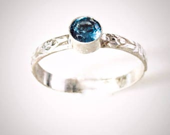 December Birthstone Ring, Blue Zircon Ring, Stacked Mothers Ring, December Birthday, Gift for Her