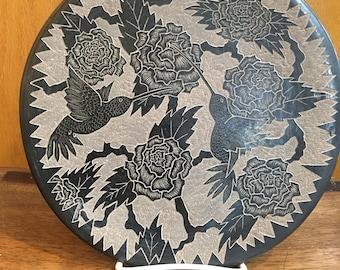 Native American handmade Santa Clara pueblo  (blackware plate)