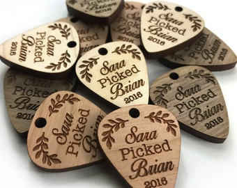 Custom Wooden Guitar Pick Tags 1 inch x 1 inch Personalized Wooden Guitar Pick Music Theme Wedding Handmade Maple Cherry Walnut wt0022