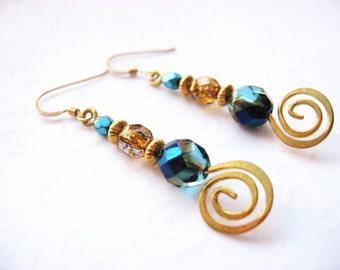 Teal Drop Earrings, Teal and Gold Metal Swirl Earrings, Beaded Jewelry, Teal Blue Earrings, Modern Jewelry for Women