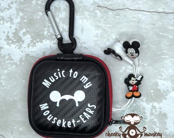 Music to my Mouseket-EARS Ear Buds & Storage Case with Carabiner // Disney Cruise, DCL, Disneyland, Walt Disney World // Fish Extender Gift