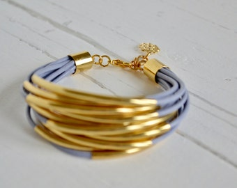 Light Grey Blue Leather Cuff with Gold Tube Beads - Multi Strand Bangle Women's Bracelet by BALOOS STUDIO