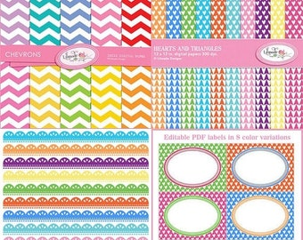 50%OFF Rainbow brights digital papers, digital lace borders clip arts and editable PDF labels bundle, B269