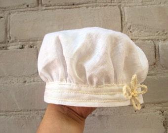 linen baby girl cap renaissance muffin cap hat