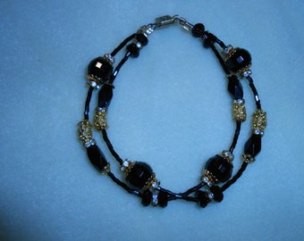 Black and Gold Double Strand Anklet