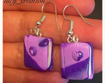 Polymer clay books earrings