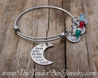 Personalized I love you to the moon and back bangle bracelet with name  Mothers gift Mom gift Grandma gift