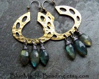 Labradorite Earrings, Labradorite Jewelry, Organic Jewelry, Modern Jewelry, Wire Wrapped, Oxidized Jewelry, Hoop Earrings