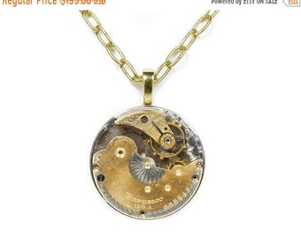 Steampunk Jewelry Necklace Vintage REPUBLIC Two Tone Gold and Silver Guilloche Etched Pocket Watch Holiday Gift Men Women - by edmdesigns