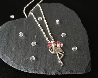 Silver Flamingo Necklace, Pink Flamingo pendant, Bird necklace