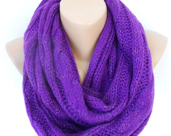 Valentines Gift For Her Chunky Knit Infinity Scarf Cozy Winter Scarf Ascot Neck Warmer Purple Loop Scarf  Fashion Accessories Gift For Mom