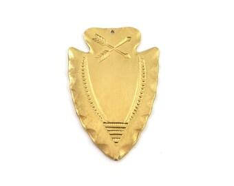 1 pendant charm arrow tribal ethnic 28mm x 42mm raw brass stamping. CH-043