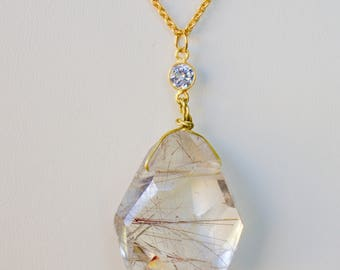 Beautiful Rutile Quartz with Gold field Chain Necklace.