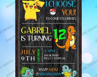 Pokemon Inspired Birthday Invitation
