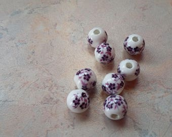 With 8mm purple flower ceramic beads