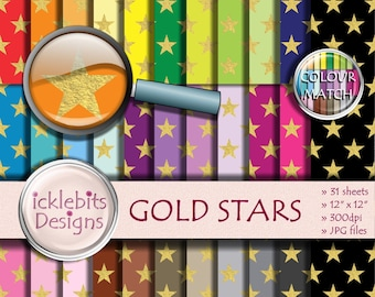 "Gold Stars Digital Paper Pack ~ ""GOLD STARS"" ~ 31 Sheets ~  Star digital paper ~  night sky digital paper ~ Rainbow Paper ~ Design #113"