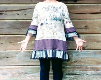 """Upcyled Designer Women's Tunic Top Beige with Black Tulle Frill Boho Country Vinyard Scene OOAK """"Sunset and Wine"""" Size 1XL"""