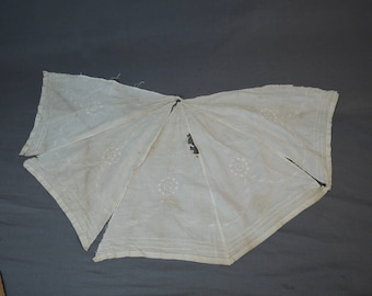Antique Parasol Panels, Vintage Embroidered Cotton, 1900s As Is Edwardian Umbrella Cover Fabric