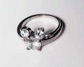 Vintage Sterling Silver and Clear Cubic Zirconia Mouse Ring