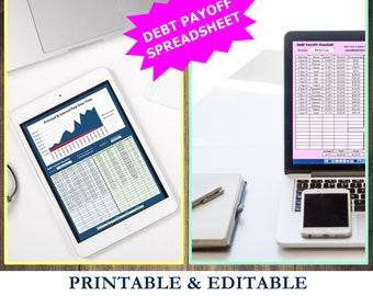 Debt payoff tracker, spreadsheet, printable, debt payoff, editable spreadsheet, debt snowball, debt tracker, debt planner, debt spreadsheet