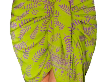 Short Sarong Skirt Batik Sarong Pareo Wrap Women's Clothing - Chartreuse Green & Purple Fairy Skirt - Hip Wrap Mini Skirt - Beach Sarong