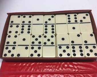 Vintage King-Size Set of 28 Double-Six Dominoes in Vinyl Case, 2x1x3/8 Inches