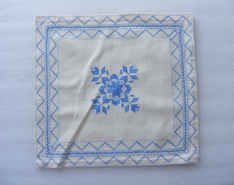 """Vintage White Hand Embroidered Tablecloth  - 13"""" x 12.2"""""""