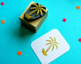Tropical Palm Tree Rubber Stamp - Wedding Stamper - Tropical Wedding - Beach Wedding - Nautical Wedding - Wedding Invites