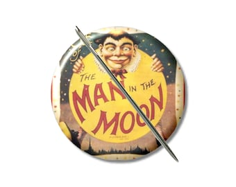 Man in the Moon needle minder magnet cross stitching sewing tool sewing notion gift under 10 stocking stuffer vintage art