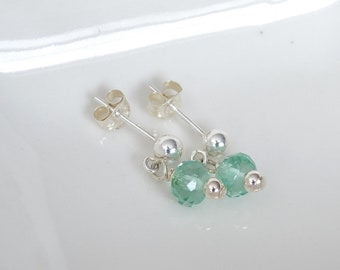 Green Topaz Earrings, Small Earrings, Delicate Earrings, Semi Precious Gemstone Jewelry