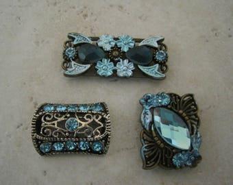2-HOLE SLIDER BEADS Beautiful Blue Sparkling Diamond Rhinestones