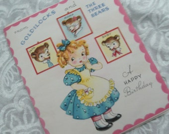 Vintage Goldilocks and the Three Bears, Child's Birthday Card, Storybook Card, Happy Birthday, Upcycle