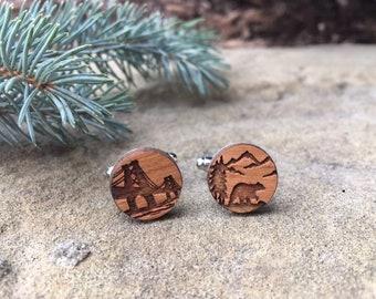 Custom Wood Laser Engraved Cuff Links, Groomsmen Cuff Links, Silver Plated, Wood, Wedding, cufflinks