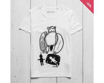 Man Graphic Tee Printed t-shirt White Organic Cotton - Monkey