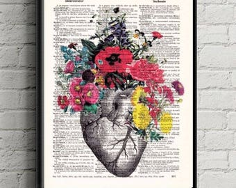 Sale Anatomical Heart and Flowers- Human Anatomical Heart Poster-Heart and Flowers Print- Science Gift- Dictionary Print