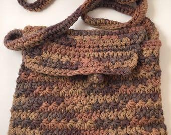 Crossbody Purse Handbag Variegated Brown Cotton Yarn