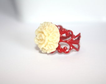 Ivory Flower Ring Jewelry Cream Flower Ring Red Adjustable Ring Filigree Ring Wedding, Bridesmaids Gift Bridal Accessory