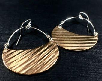 Recycled Cymbal Earrings Drummer Earring Percussion Earrings Bronze Hoops Golden Dangle Earrings