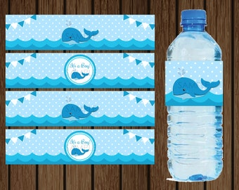Whale Water Bottle Label / Nautical Baby Shower / Instant Download / Whale Baby Shower / Whale Water Bottle / Whale Water Label / Whale