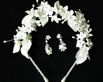 Cold porcelain flower crown, bridal crown